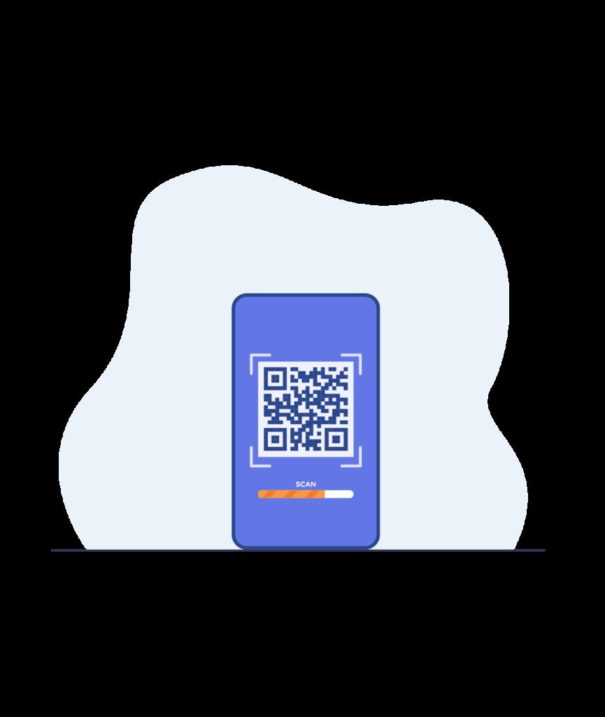 illustration d'un smartphone avec un qr code